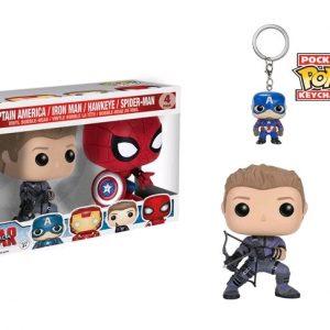 Civil War: 4 Pack Spider-Man, Hawkeye Pop Vinyl with Iron Man & Captain America key chains