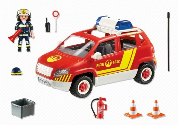 Playmobil City Action 5364 Fire Chiefs Car with lights & sound - fire chief car action figure product inclusion playmobil - pop toys