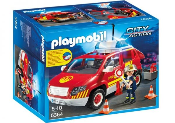 Playmobil City Action 5364 Fire Chiefs Car with lights & sound - fire chief car action figure product box front playmobil - pop toys