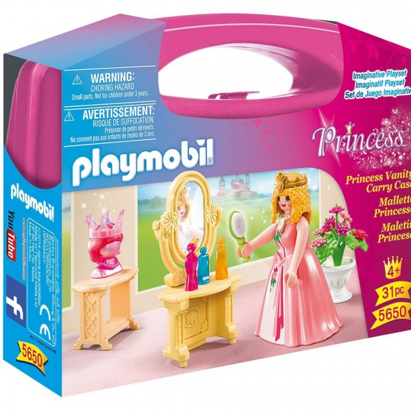 Playmobil Princess 5650 Princess Vanity Carry Case - 31 pieces - image  on https://pop.toys