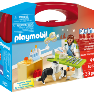 Playmobil City Life 5653 Vet Visit Carry Case - vet visit action figure product case front playmobil - pop toys