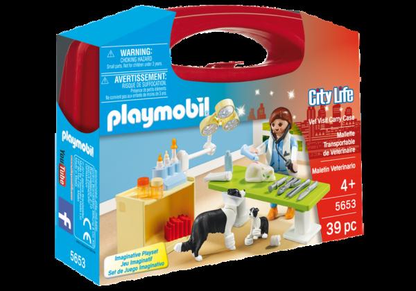 Playmobil City Life 5653 Vet Visit Carry Case - vet visit action figure product case front playmobil - pop toys