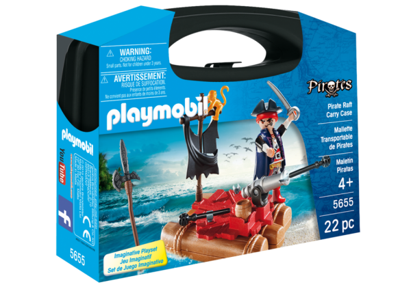 Playmobil Pirates 5655 Pirate Raft Carry Case - pirate raft action figure case front playmobil - pop toys