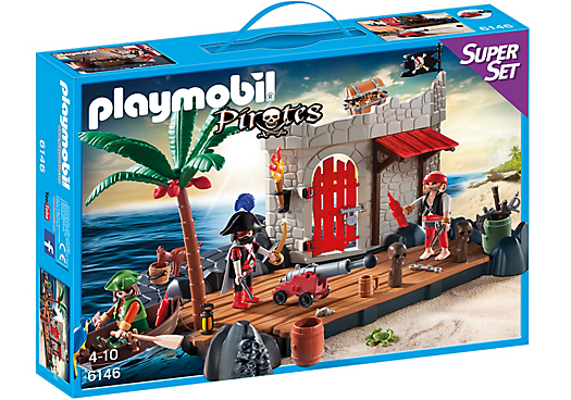 Playmobil Pirates 6146 Pirate Fort Super Set - pirate port action figures product box front playmobil - pop toys