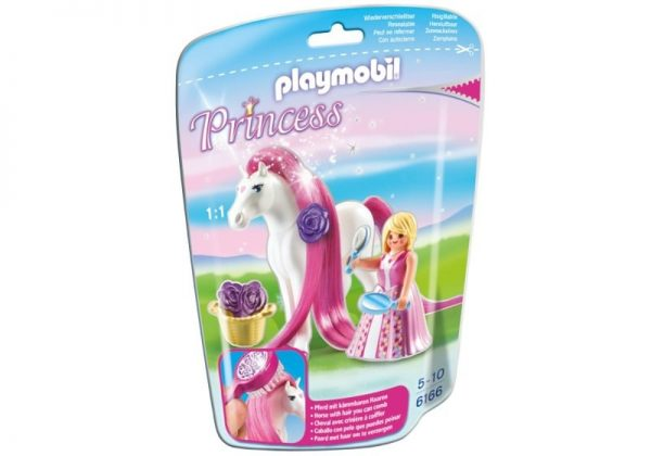 Playmobil Princess 6166 Princess Rosalie with Horse - princess rosalie action figure product box front playmobil - pop toys