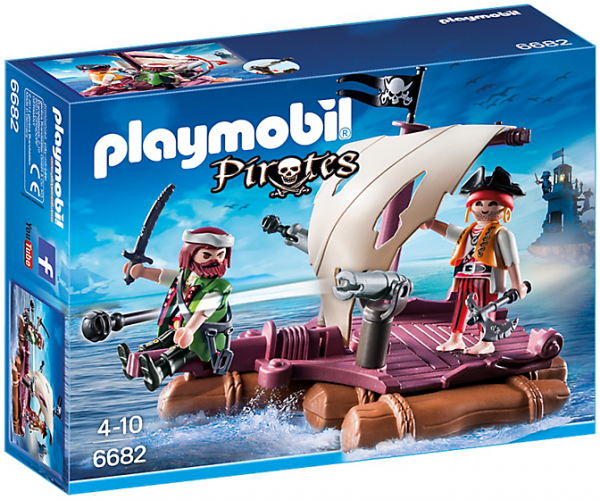 Playmobil Pirates 6682 Pirate Raft - pirates raft action figures product box front playmobil - pop toys