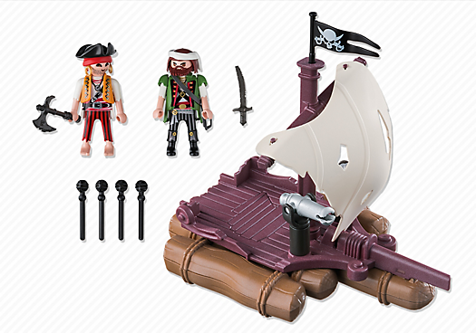 Playmobil Pirates 6682 Pirate Raft - pirates raft action figures product inclusion playmobil - pop toys