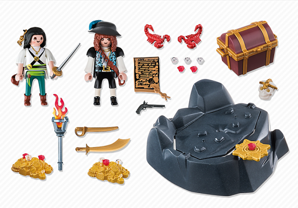 Playmobil Pirates 6683 Treasure Hideout - pirates treasure hideout product inclusion playmobil - pop toys