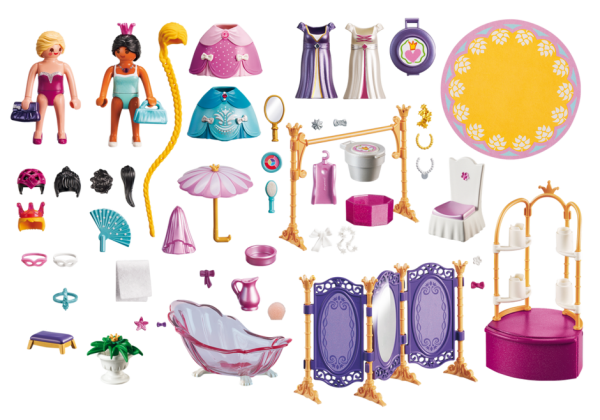 Playmobil Princess 6850 Dressing Room with Salon -l Princess dressing room products inclusion - playmobil - pop toys