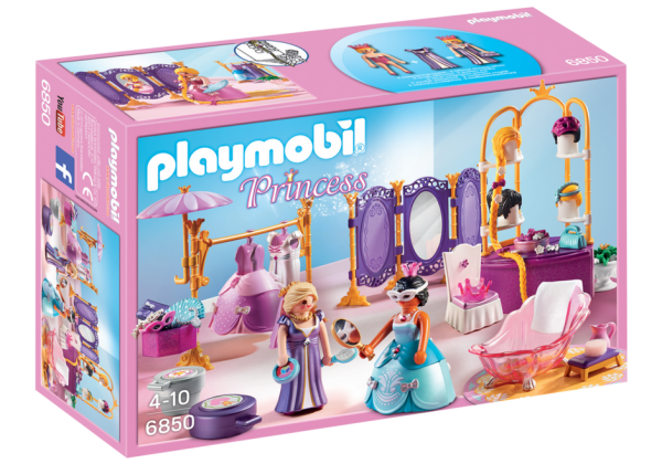 Playmobil Princess 6850 Dressing Room with Salon -l Princess dressing room products box front - playmobil - pop toys