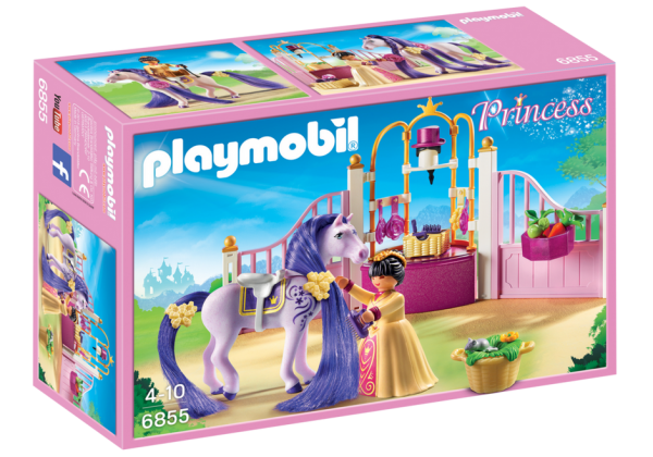 Playmobil Princess 6855 Castle Stable - Princess caste stable product Box Front - playmobil - pop toys