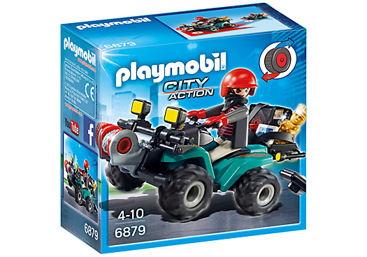 Playmobil City Action 6879 Robbers Quad bike with loot - robbers quad bike action figure product box front playmobil - pop toys