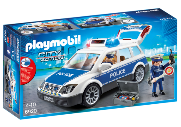Playmobil City Action 6920 Police Car with lights & sound - police car action figure box front playmobil - pop toys