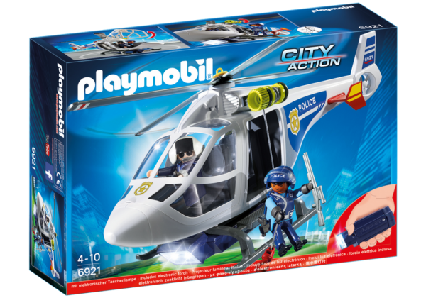 Playmobil City Action 6921 Police Helicopter with LED searchlight - police helicopter action figure product box front playmobil - pop toys