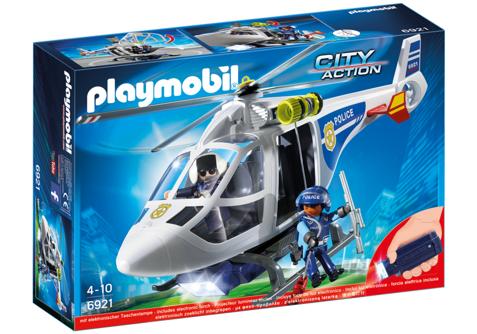 Playmobil City Action 6921 Police Helicopter with LED searchlight - image 6921_product_box_front on https://pop.toys