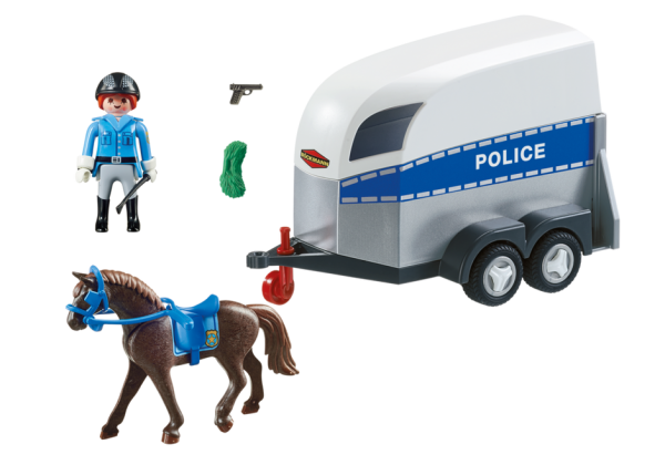 Playmobil City Action 6922 Police with horse and trailer - police with horse action figure product inclusion playmobil - pop toys