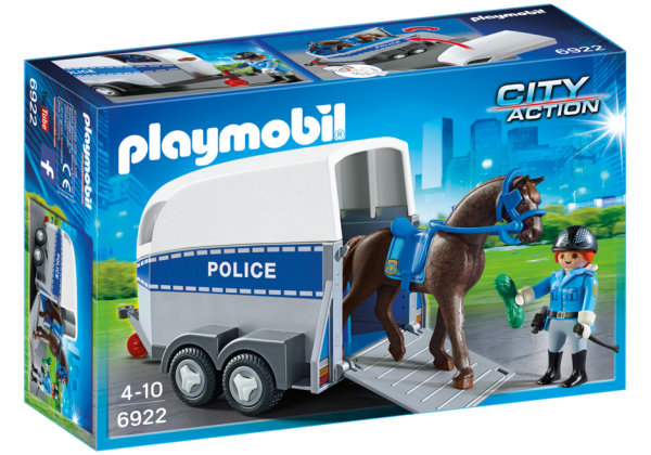 Playmobil City Action 6922 Police with horse and trailer - police with horse action figure product box front playmobil - pop toys