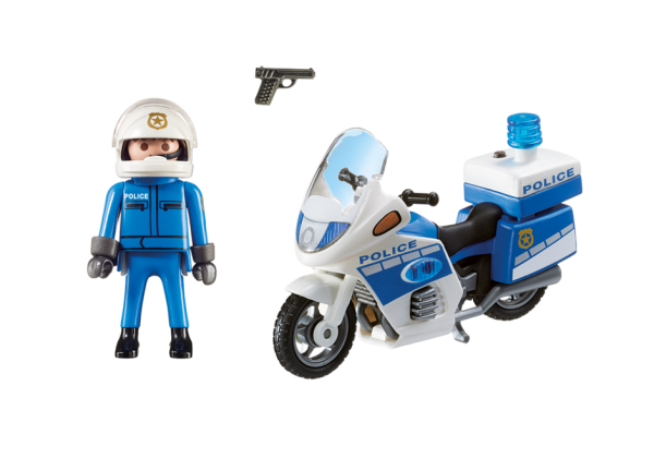 Playmobil City Action 6923 Police Motorbike with LED light - police motorbike action figure product inclusion playmobil - pop toys