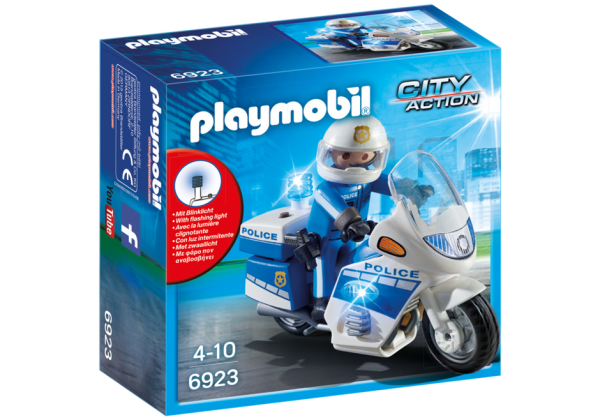 Playmobil City Action 6923 Police Motorbike with LED light - police motorbike action figure product box front playmobil - pop toys