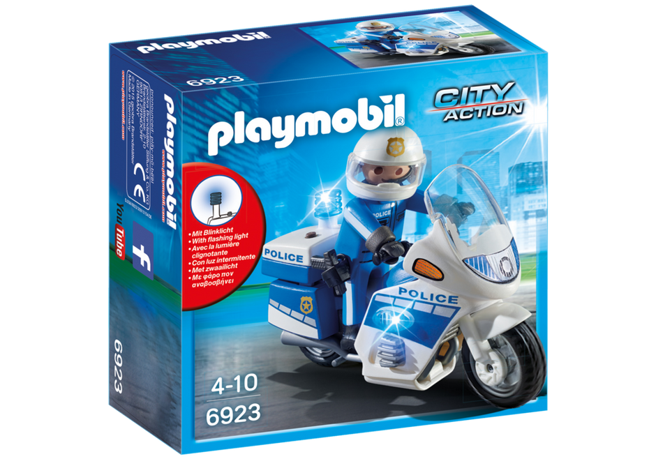 Playmobil City Action 6923 Police Motorbike with LED light - image 6923_product_box_front on https://pop.toys
