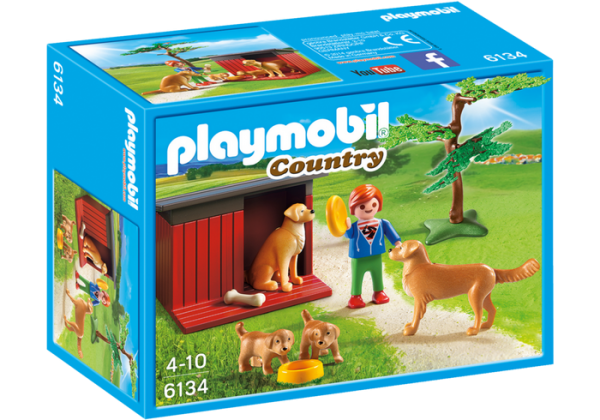 Playmobil Country 6134 Golden Retrievers with Toy - golden retrievers product box front playmobil - pop toys