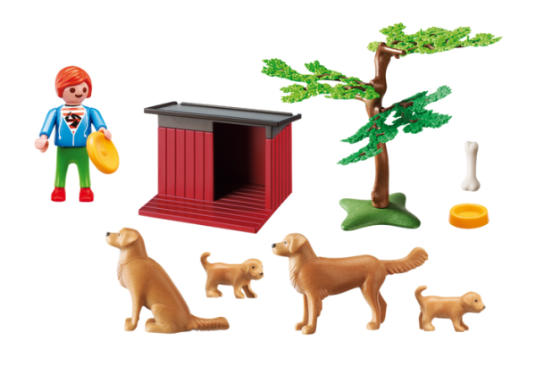 Playmobil Country 6134 Golden Retrievers with Toy - golden retriever product inclusion playmobil - pop toys