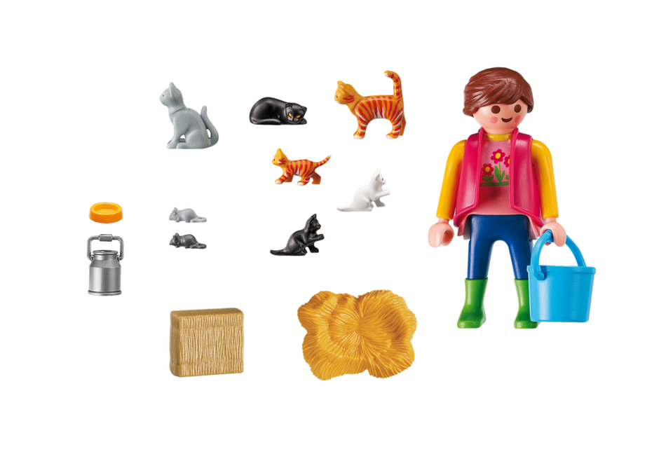 Playmobil Country 6139 Woman with Cat Family - image 6139_Cat_lady_inside on https://pop.toys