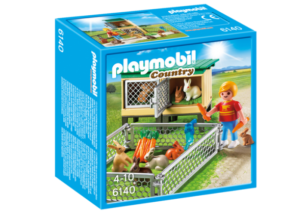 Playmobil Country 6140 Rabbit Pen with Hutch - rabbit pen with hutch product box front playmobil - pop toys