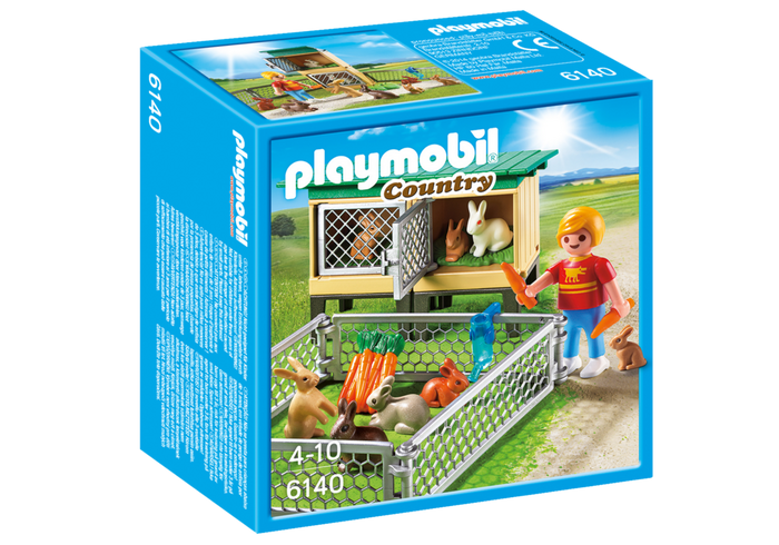 Playmobil Country 6140 Rabbit Pen with Hutch - image 6140_rabbit_box_front on https://pop.toys