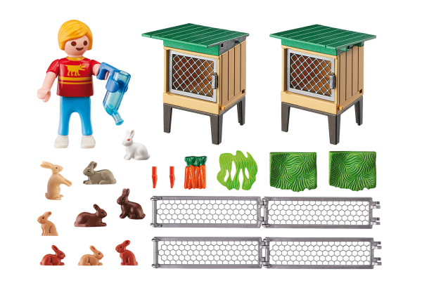 Playmobil Country 6140 Rabbit Pen with Hutch - rabbit pen with hutch product inclusion playmobil - pop toys