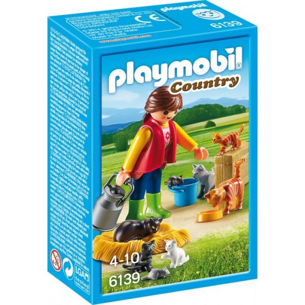 Playmobil Country 6139 Woman with Cat Family - playmobil product box front - pop toys