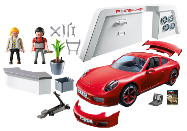 Playmobil 3911 Porsche 911 Carrera S with Lights and Showroom - Porshe 911 carrera s product inclusion playmobil - pop toys
