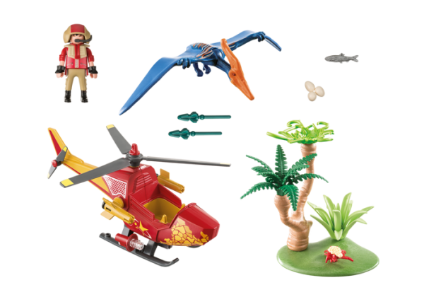 Playmobil Dino Explorers 9430 Adventure Copter with Pterodactyl - playmobil dino explorers back - playmobil - pop toys