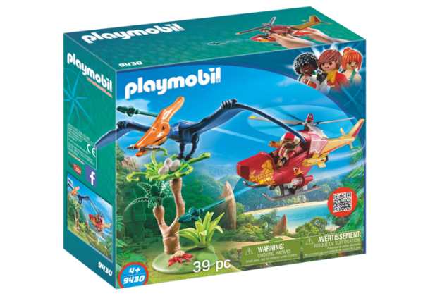 Playmobil Dino Explorers 9430 Adventure Copter with Pterodactyl - playmobil dino explorers front - playmobil - pop toys