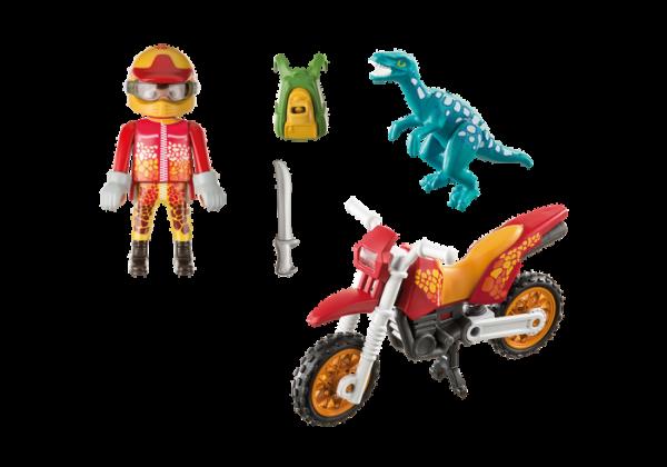 Playmobil Dino Explorers 9431 Motocross bike with Raptor - playmobil dino explorers back - playmobil - pop toys