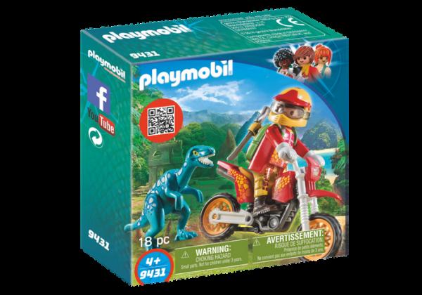Playmobil Dino Explorers 9431 Motocross bike with Raptor - playmobil dino explorers front - playmobil - pop toys