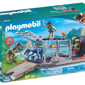 Playmobil Dino Explorers 9433 Enemy Airboat with Raptors - playmobil dino explorers - playmobil dino explorers box front - playmobil - pop toys