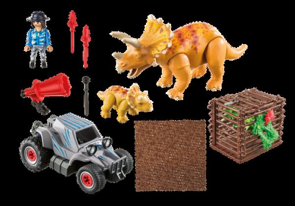Playmobil Dino Explorers 9434 Enemy Quad with Triceratops - playmobil dino explorers - playmobil back box - playmobil - pop toys