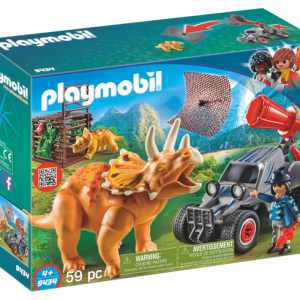 Playmobil Dino Explorers 9434 Enemy Quad with Triceratops - playmobil dino explorers - playmobil front - playmobil - pop toys