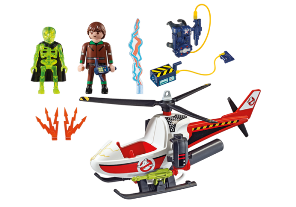 Playmobil Real Ghostbusters 9385 Peter Venkman with Helicopter - playmobil the real ghostbusters - the real ghostbusters box back playmobil - playmobil - pop toys