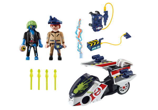 Playmobil Real Ghostbusters 9388 Ray Stantz with Skybike - box back - playmobil dino explorers - playmobil - pop toys
