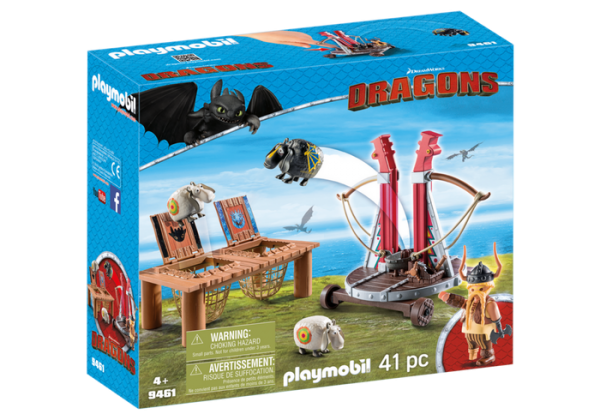 Playmobil Dragons 9461 Gobber the Belch with Sheep Sling Box