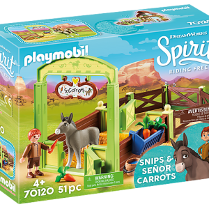 Playmobil Spirit Riding Free 70120 Snips, Senor Carrots w/stall - image 70120-Snips-and-Senor-Carrots-with-Horse-Stall-box-300x300 on https://pop.toys