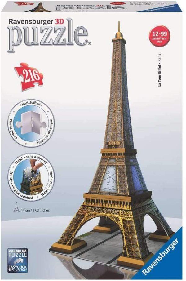 Ravensburger Eiffel Tower 3D Puzzle 216pc pieces - image ravensburger_eiffeltower-600x906 on https://pop.toys