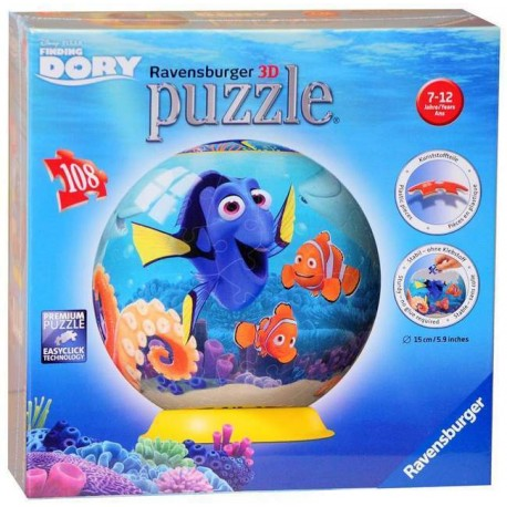 Ravensburger Finding Dory 3D Puzzle Ball Globe 108pc pieces Nemo - image ravensburger-disney-finding-dory-3d-puzzle-108-pc on https://pop.toys
